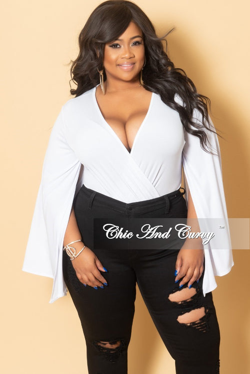 Final Sale Plus Size Slit Sleeve Leotard in White