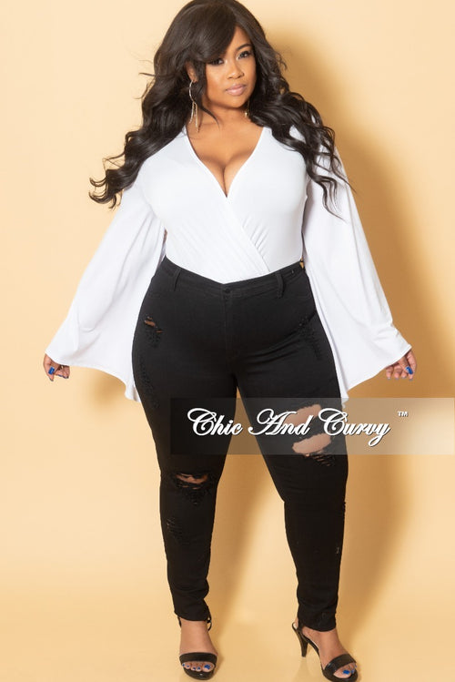 Final Sale Plus Size Faux Wrap Cape Sleeve Leotard in White