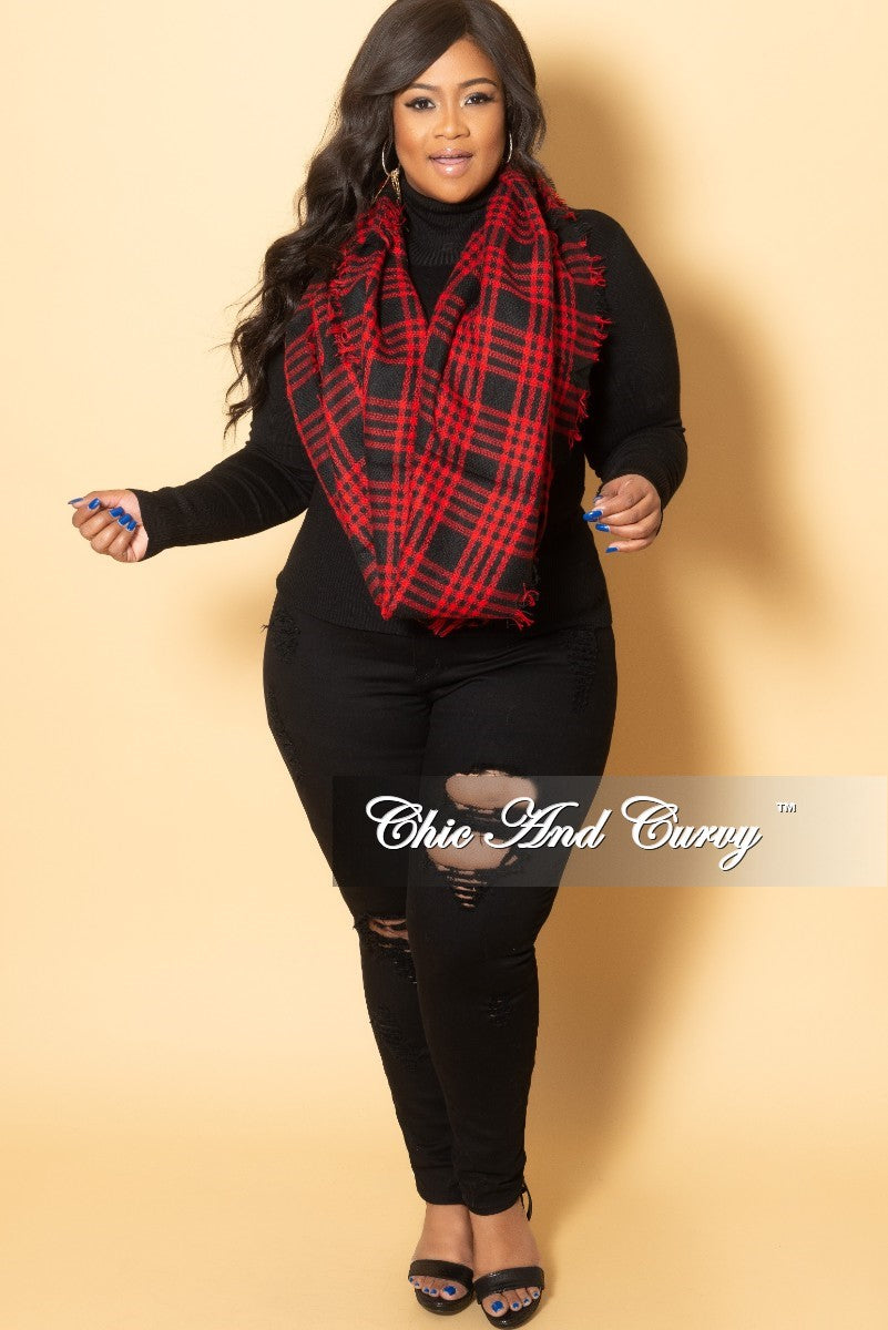 Final Sale Plus Size Blanket Scarf in Black and Red Plaid