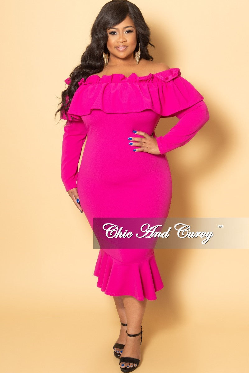 Final Sale Plus Size Off the Shoulder Ruffle BodyCon Dress in Fuchsia