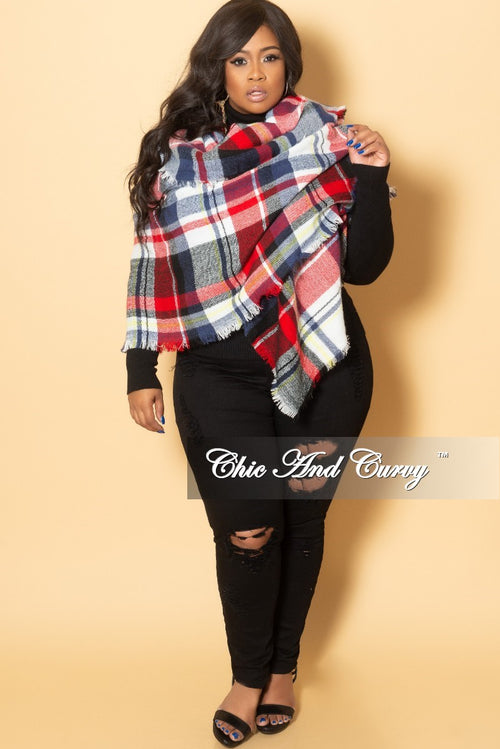 Final Sale Plus Size Blanket Scarf in Blue and Red Plaid