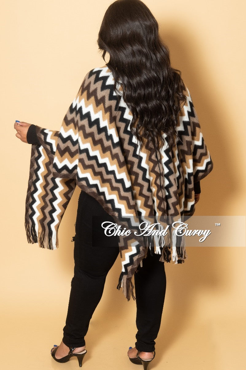 New Plus Size Wool Shawl with Fringe in Brown Zig Zag Print One Size