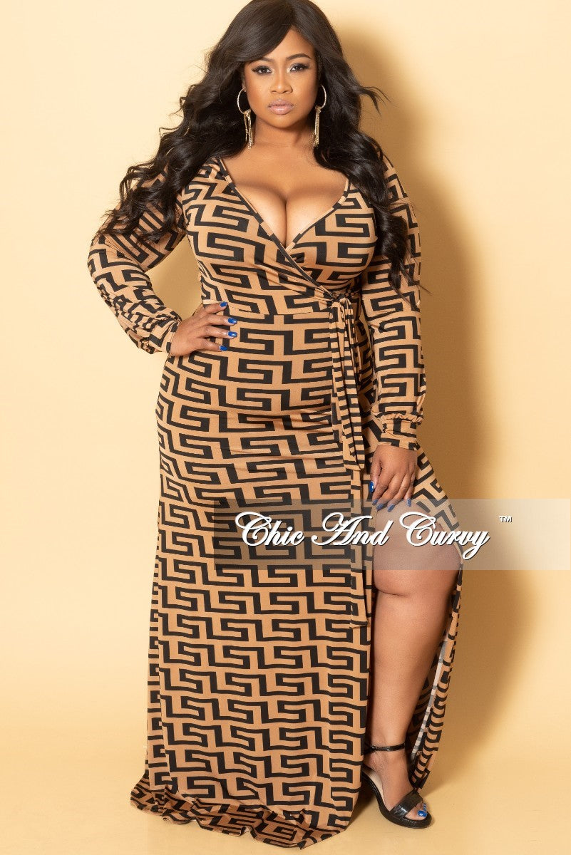 New Plus Size Faux Wrap Long Dress with Front Slit sand Attached Tie in Brown and Black Maze Print
