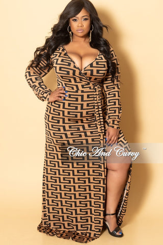 Final Sale Plus Size Long Wrap Dress w/ Tie in Black
