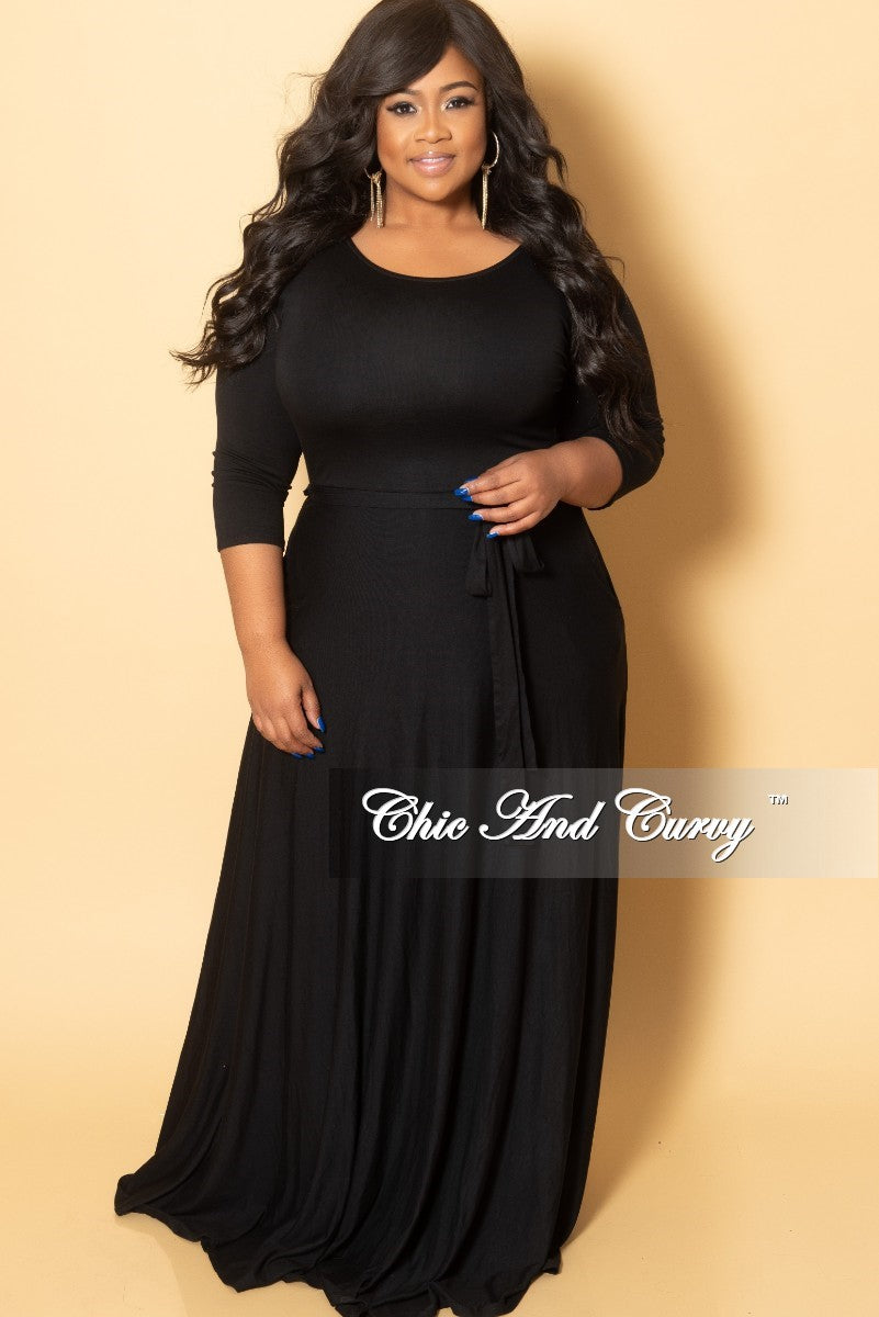 New Plus Size Long Dress with 3/4 Sleeve and Tie in Black