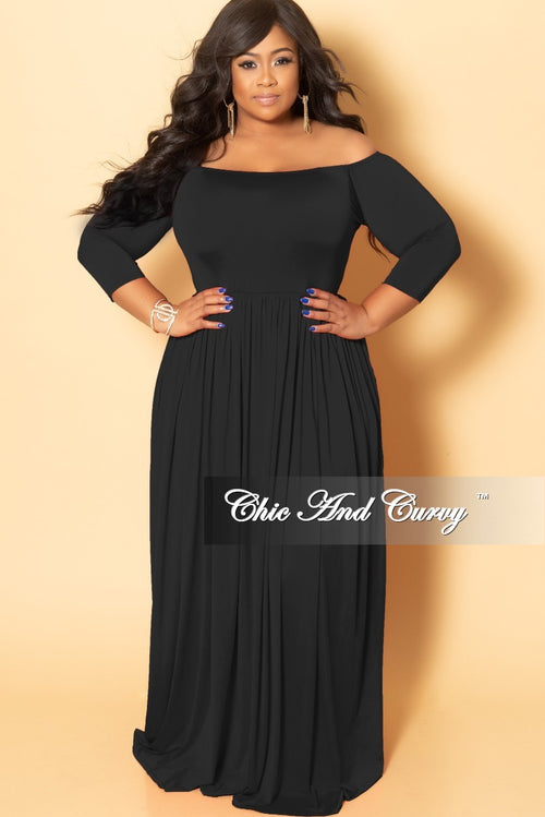 Final Sale Plus Size Off the Shoulder Long Dress in Black