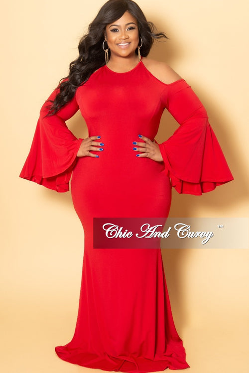 Final Sale Plus Size Cold Shoulder Gown with Bell Sleeves in Red