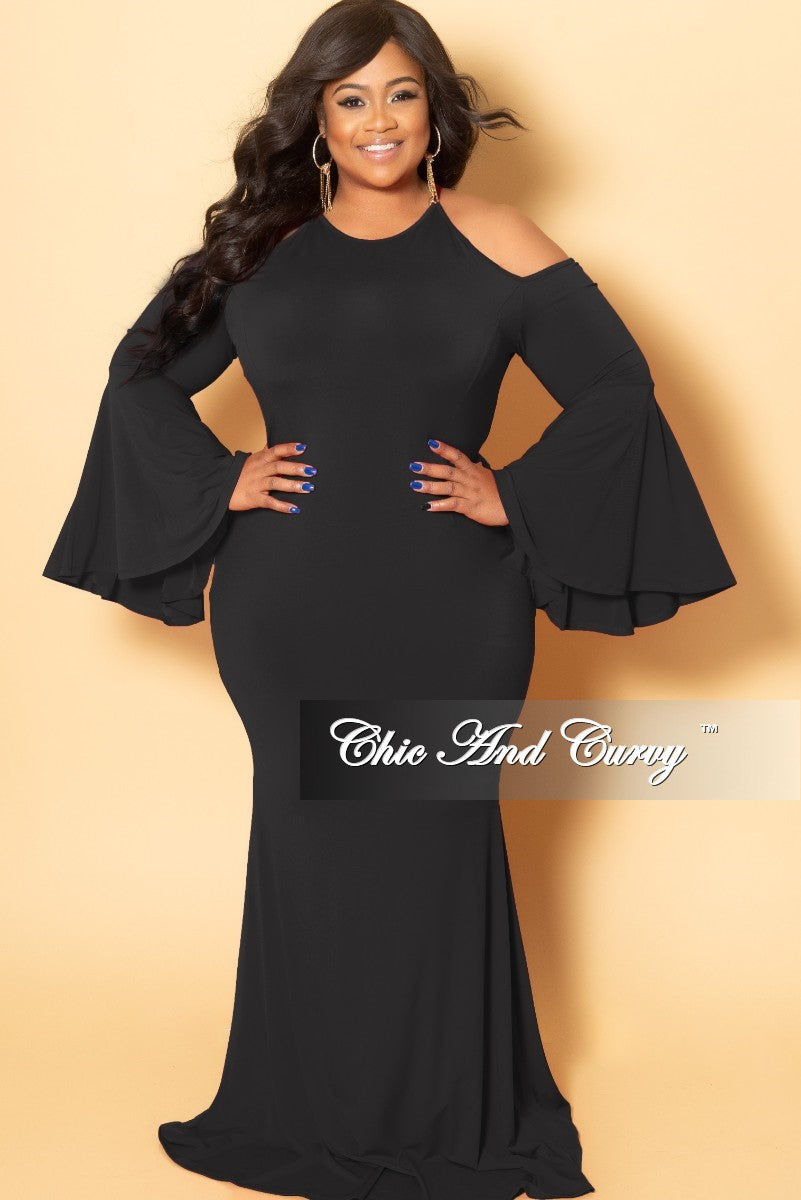 Final Sale Plus Size Cold Shoulder Gown with Bell Sleeves in Black