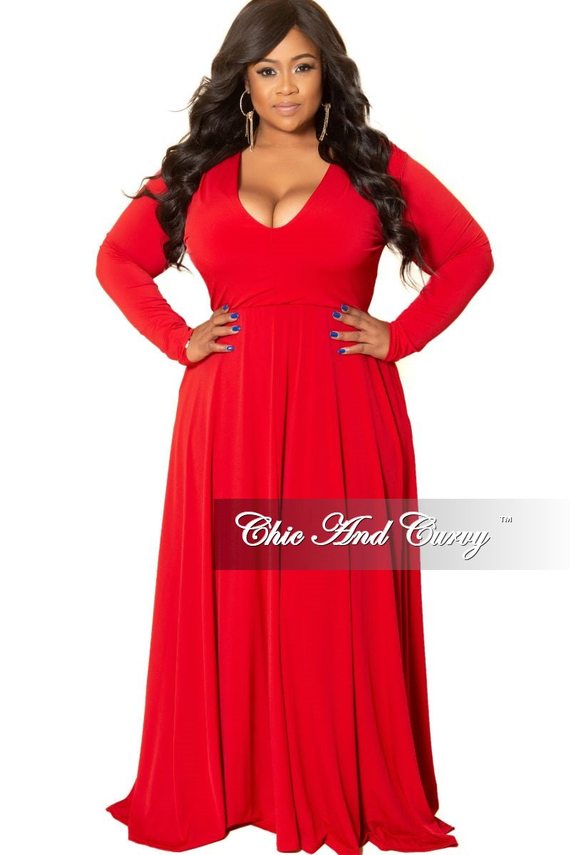 Final Sale Plus Size Long Sleeve Gown with V-Neck in Red