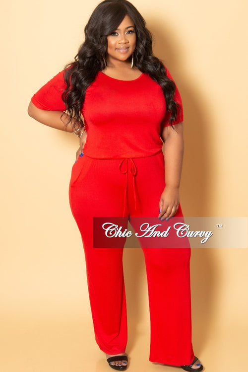 5ddba373188f New Plus Size Jumpsuit with Attached Draw String in Red