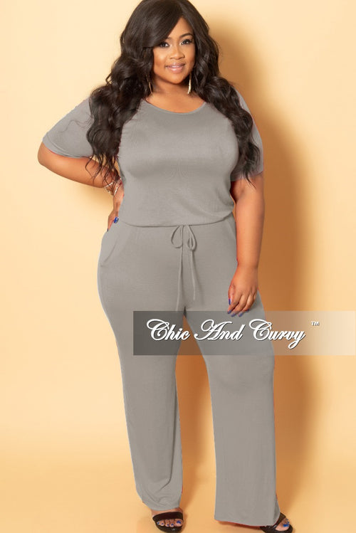 2aa3cd2fb6a New Plus Size Jumpsuit with Attached Draw String in Grey