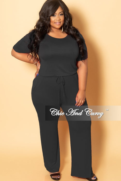 Final Sale Plus Size Jumpsuit with Attached Draw String in Black