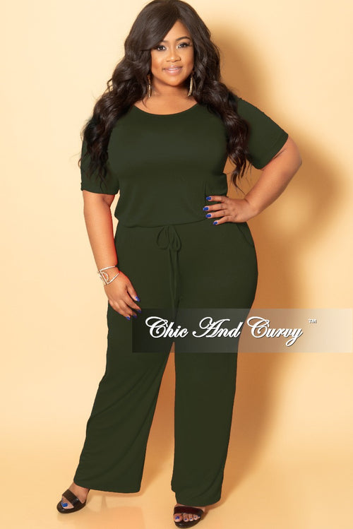 c844c7d7ff18 New Plus Size Jumpsuit with Attached Draw String in Olive