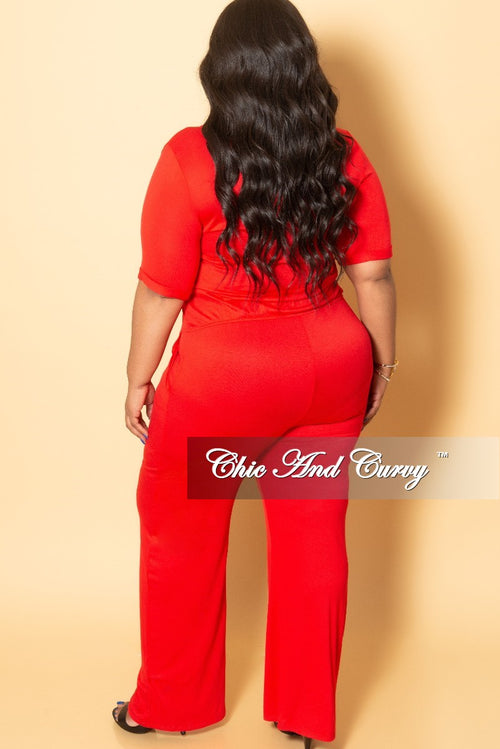 New Plus Size Jumpsuit with Attached Draw String in Red