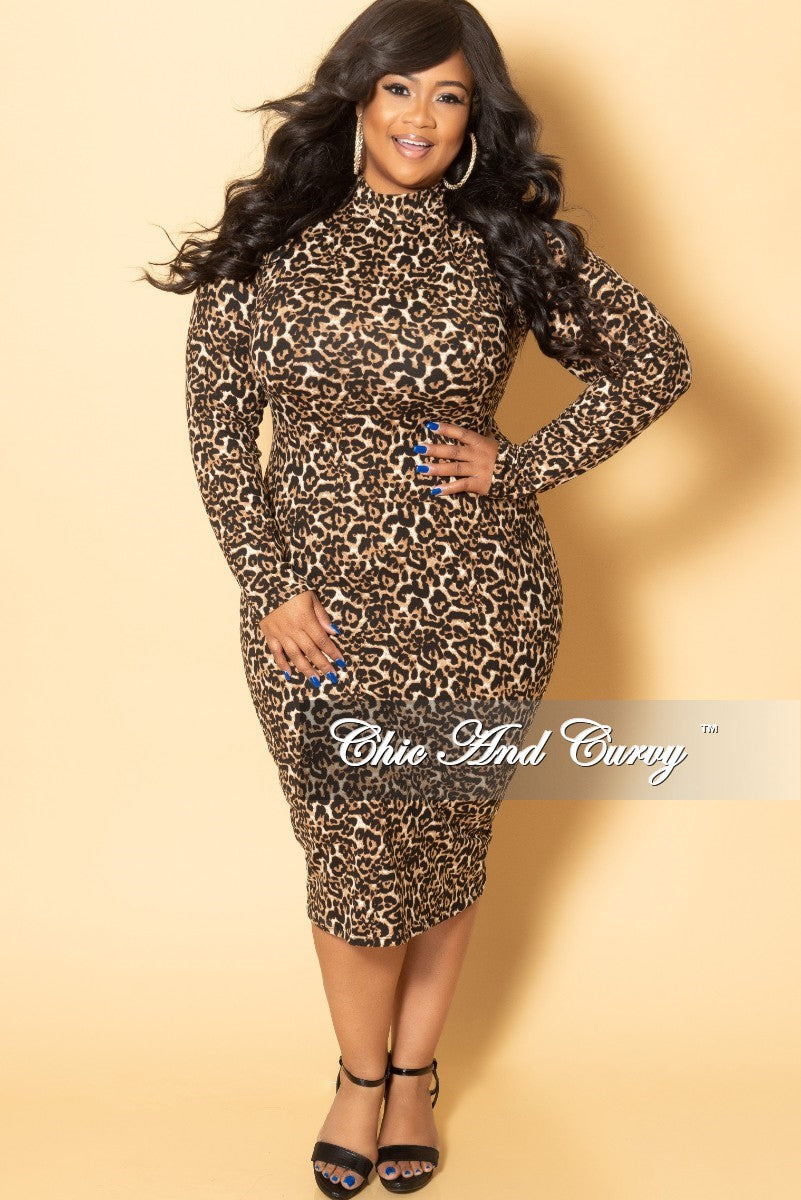 New Plus Size Reversible Bodycon Dress with Zipper in Dark Leopard Print
