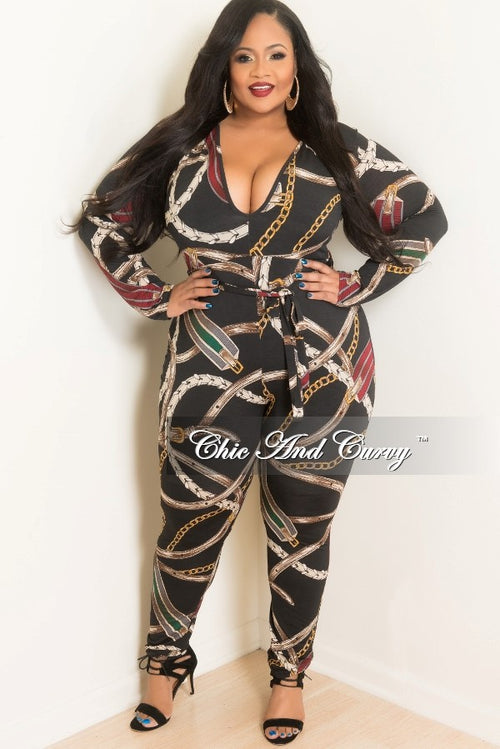 New Plus Size Long Sleeve V-Neck Jumpsuit W/ Attached Tie in Black, Burgundy ,Brown, Yellow and Green