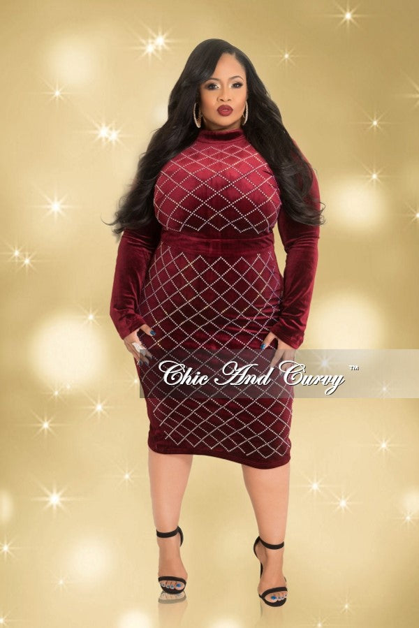 Final Sale  Plus Size Long Sleeve Velvet BodyCon Dress with Studded Front and Back Zipper in Burgundy and Silver