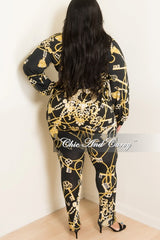 Final Sale Plus Size 2-Piece Lounge Set with Tie in Black and Yellow