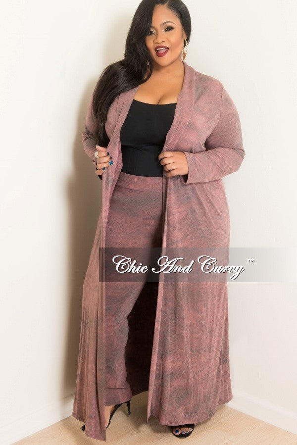 edf09fb7e8e Final Sale Plus Size 2-Piece Duster and Pants Set in Mauve – Chic And Curvy