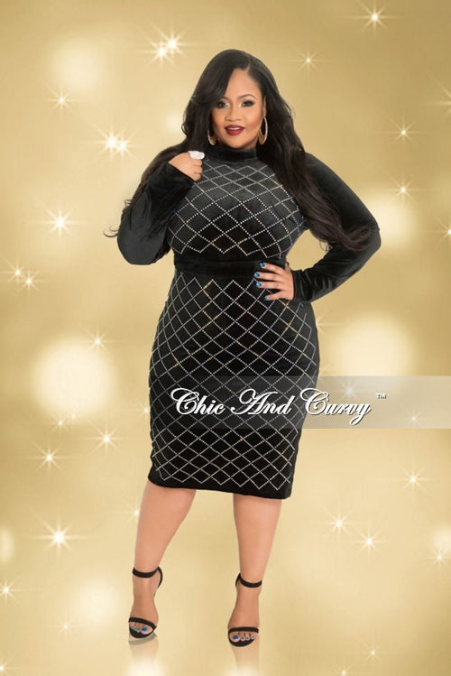 Final Sale  Plus Size Long Sleeve Velvet BodyCon Dress with Studded Front and Back Zipper in Black and Silver