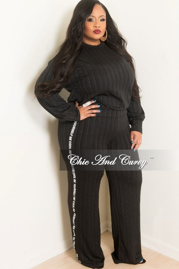 2a1b35bdc New Plus Size Top and Pants Set with Be Cool Be Yourself Trim in Black –  Chic And Curvy