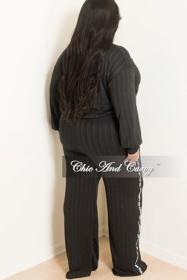 New Plus Size Top and Pants Set with Be Cool Be Yourself Trim in Black and White