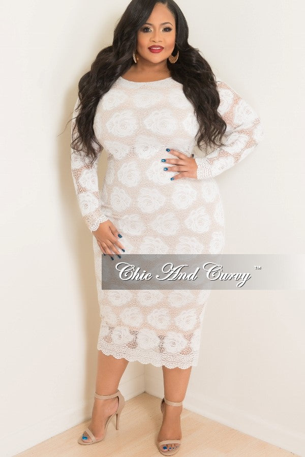 Final Sale Plus Size BodyCon Lace Dress in White