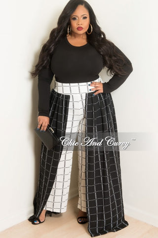 Final Sale Plus Size Palazzo Skirt Pants in Black and White Square Print