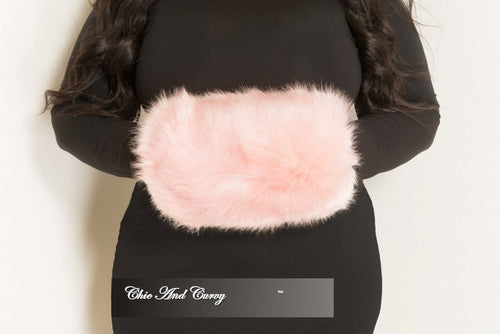 Final Sale Faux Fur Hand Muff & Purse with Black Zipper in Pink