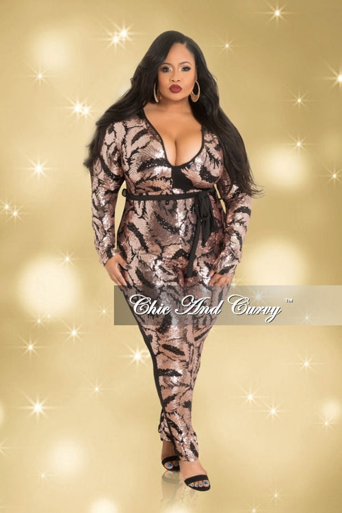 Final Sale Plus Size Long Sleeve V-Neck Jumpsuit with Sheer Sequin Front in Rose Gold and Black