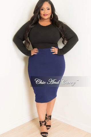 Final Sale Plus Size Ruffle Mesh Rhinestone High-Low Midi Skirt in Black