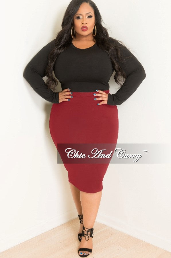 Final Sale Plus Size Pencil Skirt in Burgundy – Chic And Curvy