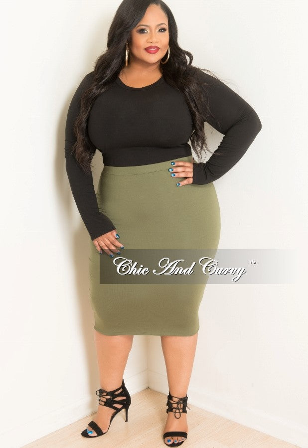 7222ba7cb New Plus Size Pencil Skirt in Olive – Chic And Curvy