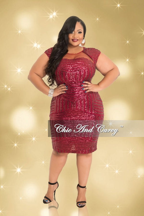 Final Sale  Plus Size BodyCon Dress with Sheer Sequin Front and Open Back in Burgundy (Seasonal)