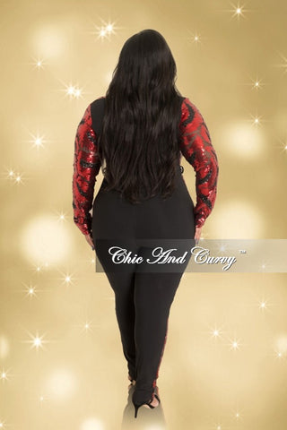 Final Sale Plus Size Long Sleeve V-Neck Jumpsuit with Sheer Sequin Front in Red and Black