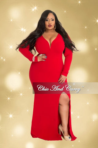 Final Sale Plus Size Long Sleeve Deep V Gown with Side Slit in Red
