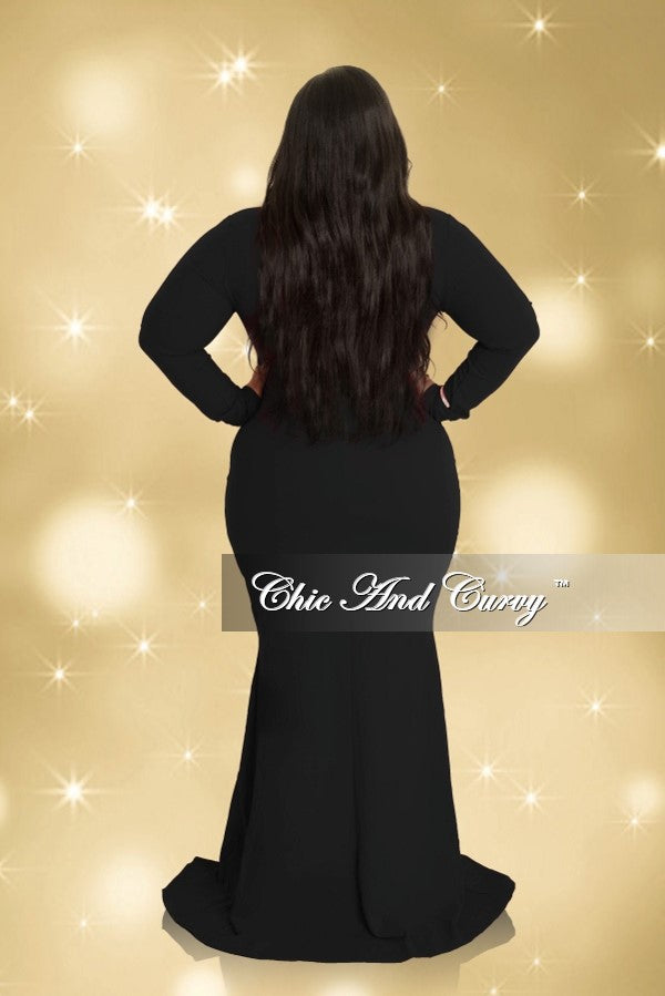 Final Sale Plus Size Long Sleeve Deep V Gown with Side Slit in Black