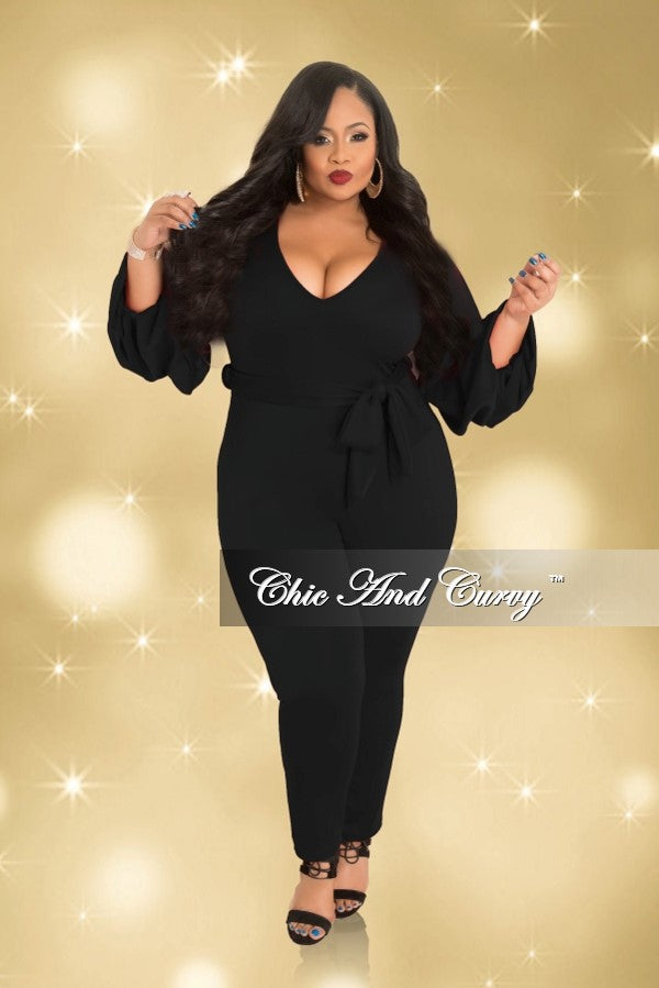 Final Sale Plus Size Jumpsuit with Tie and Puff Sleeves in Black