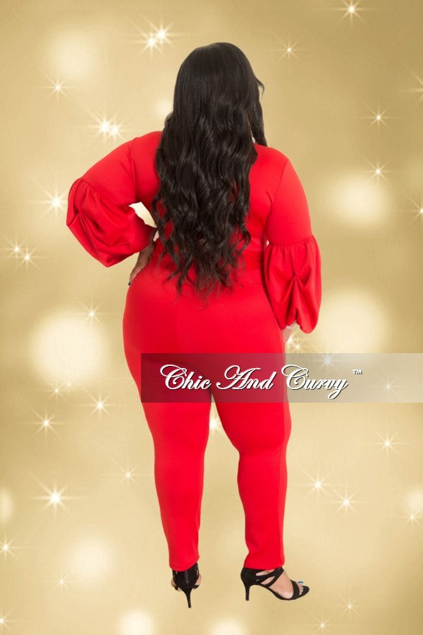 Final Sale Plus Size Jumpsuit with Tie and Puff Sleeves in Red (Seasonal)