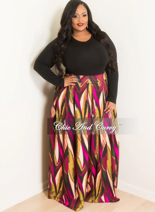New Plus Size Long Skirt with Pockets in Multi Colored Print
