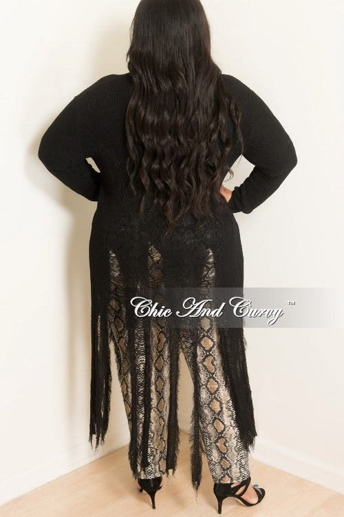 Final Sale Plus Size Long Sleeve Duster with Distressed Bottom in Black