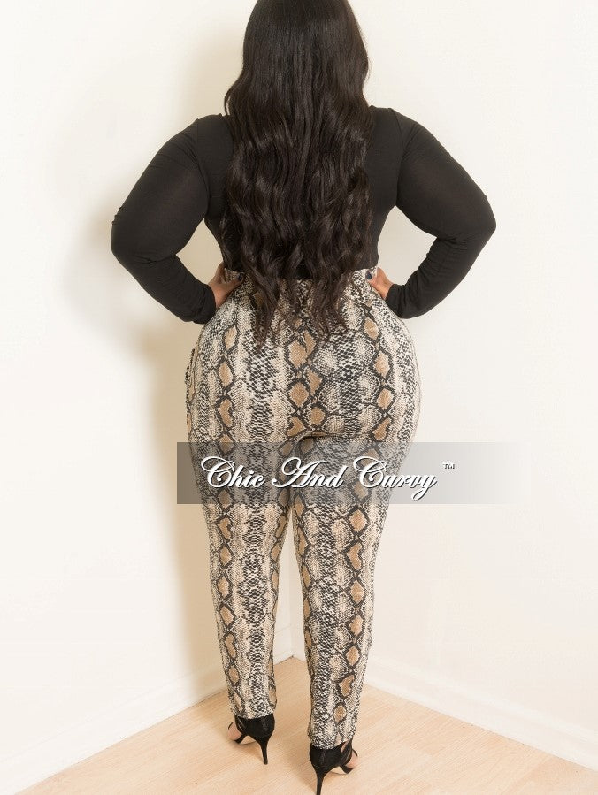 Final Sale Plus Size Animal Print Pants in Brown and Black