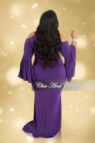 Final Sale Plus Size Cold Shoulder Gown with Bell Sleeves in Purple