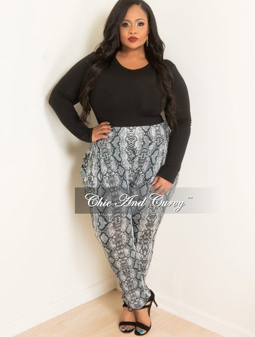 Final Sale Plus Size Animal Print Pants in Black, White and Grey
