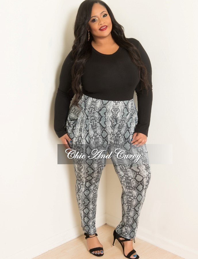 Final Sale Plus Size Animal Print Pants In Black White And Grey Chic And Curvy