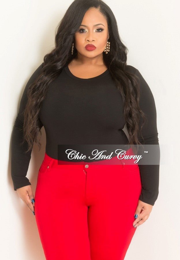 New Plus Size Long Sleeve Top in Black