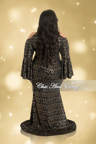 Final Sale Plus Size Cold Shoulder Gown with Bell Sleeves in Black and Gold Print