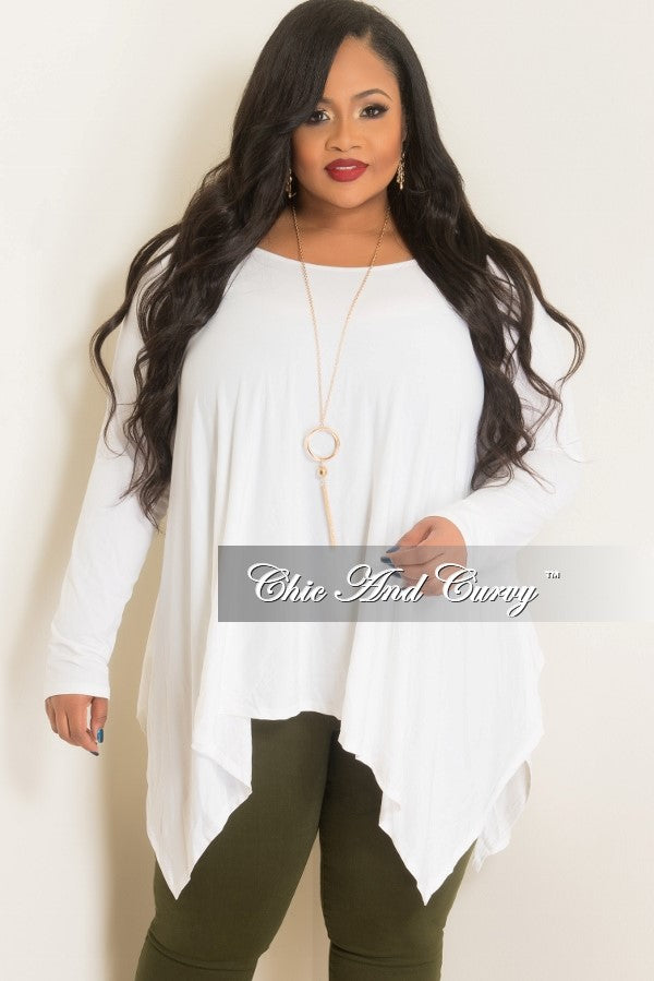 Final Sale Plus Size Long Sleeve High-Low Top in Off White