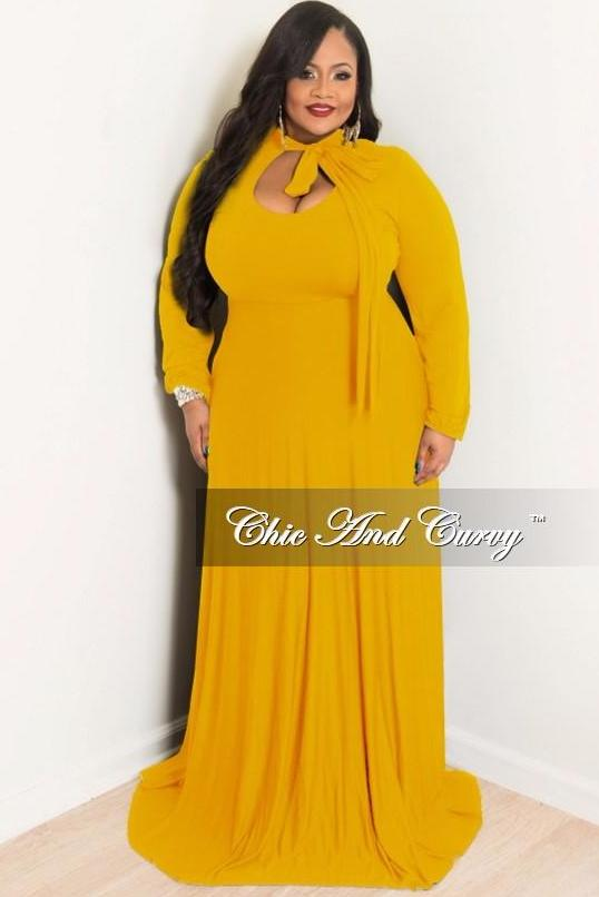 Final Sale Plus Size Long Dress with Long Sleeve with Neck Bow Tie in  Mustard