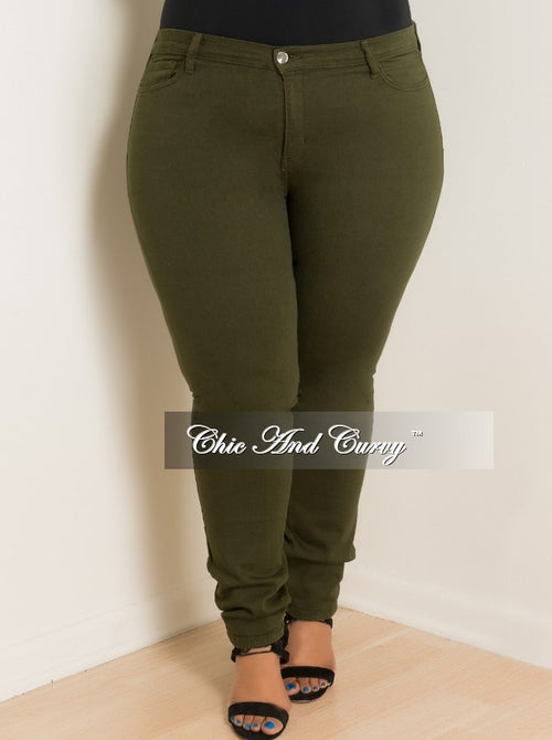 Final Sale Plus Size Jeans in Olive
